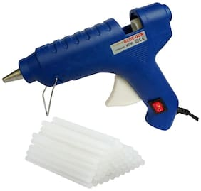 POLYMELT BLUE 40W 40 WATT HOT MELT GLUE GUN WITH ON OFF SWITCH INDICATOR AND FREE 25 TRANSPARENT GLUE STICKS