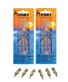 Pony 50 Assorted Needles, Sewing & darning Needles, Set of 2 with 5 Wooden Parrots