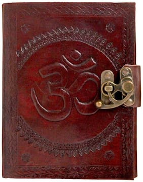 Pranjals house Pure Genuine Real Vintage Hunter Leather Handmade paper Notebook Dairy For office Home to Write Poem Daily Update With attractive Metal Lock and Engraved Om - Size of (H) 7 *(L) 5 inch