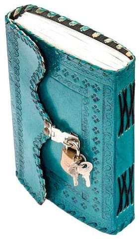Pranjals House Leather Journal Diary With Lock n Key 17.78 cm (7 inch) x 12.7 cm (5 inch) (light blue)