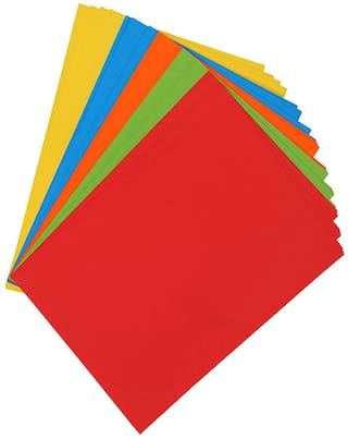 PRANSUNITA Set of 50 A4 Bright Neon Shade,160 gsm Hard A4 Both Side Color Multi  Sheets Paper