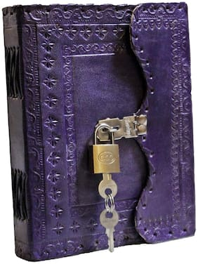 PRASTARA Leather Notebook Diary Double Folding with Brass Lock on Front - Size of (H) 7 *(L) 5*- Purple