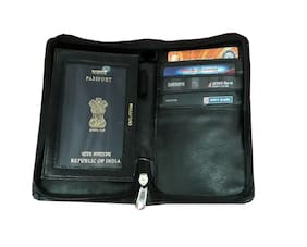 PRODUCTMINE   Leather Passport holder Case Credit / Visiting Card ticket Note Mobile Phone Coin pen Holder with Metallic Zip Closure for Men & Women (Black)