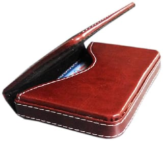 PRODUCTMINE   Stylish Pocket Sized Stitched Leather Business ATM Visiting Card Holder ( Set of 1, Brown )