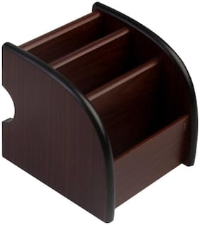 PRODUCTMINE   Wooden Mobile Holder Office Stationery Pen Stand Table Accessories 12 Cm