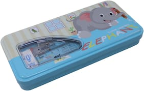 QIPS by HMI Animal Art Metal Pencil Box with Stationery