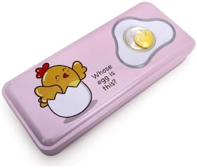 QIPS Multi-Layer Metal Pencil Box with 3D Egg Artwork on The Flap Pink