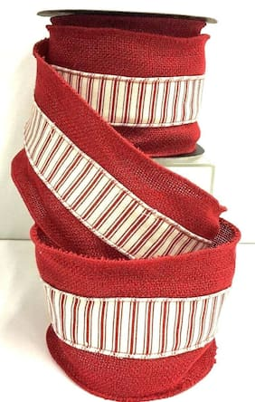 """Red Linen Wired Ribbon~Stripe Cream/Red Canvas Overlay~4"""" W x 9 yds."""