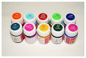 Ritzees Fabric Colours 20 ml Each Pack of 10 Different Colours with 5 Size Paint Brush and 2 Color Mixing Painting Drawing Art Palette
