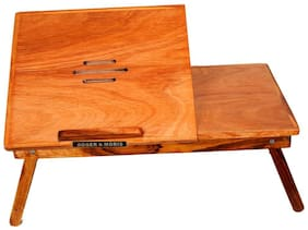 Roger & Moris Teak Study cum Laptop Table With Slots (22 inch x 12.5 inch approx)