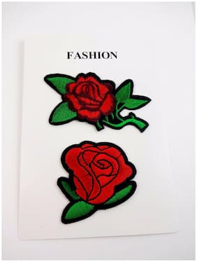 Rose Patches Iron On Embroidered Red Green Set Of Two Decorate Clothing