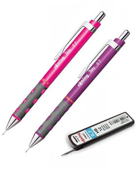 Rotring Tikky Fine Lead Mechanical Pencil 0.7 mm HB Leads - Neon Pink and Purple + 1 Tube 0.7mm Leads