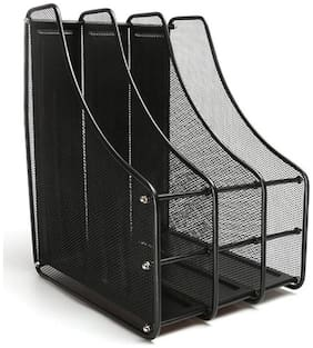 Royalkart 3 Compartments Mesh Magazine Holder And Literature File Rack Document Shelf Magazine Caddy Desk Organizer, Black Magazine Holder.