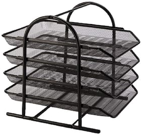 Royalkart 4-Tier File Rack Metal Mesh Letter Tray Scratch-resistant Stackable Foolscap Rack Desk Document Organizer