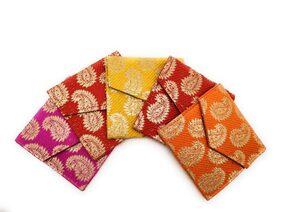Satyam Kraft Shagun Envelopes Multicolor Party Festivals/Gifts/Shagun/Cash Envelopes (5, Mini Brocade Design)