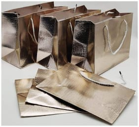 Satyam Kraft Metallic Finish Paper/Carry Bags (Golden) - Pack of 6
