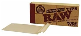 SCORIA Raw Wide and Perforated Rolling Paper Filter Tips/Roach Pad -Pack of 50 Full Box