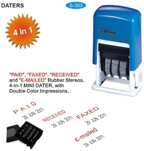 Self Inking Stamp 4 in 1 Mini 3mm Dater Rubber Stamp Shiny S-303