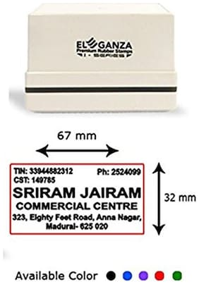 Self Inking customised rubber stamp with clear impression Size: 67 x 32 mm by ELEGANZA