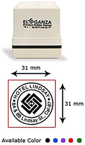 Self Inking customised rubber stamp with clear impression Size: 31 x 31 mm by ELEGANZA