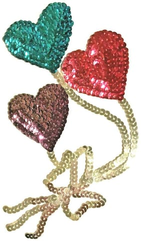 Set of 2 Sequin Applique 3 Balloon Bouquet Teal/Pink/Purple & Blue/Red/Yellow