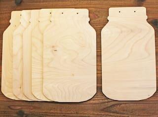 "SET OF 6 Mason Jar 12"" Unfinished Wood Cutout Shapes Wall Sign Painting Crafts"