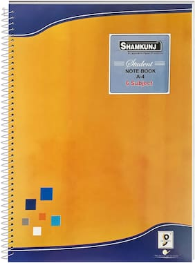 SHAMKUNJ Student Note book A-4;400 Pages 6 Subjects (Yellow)