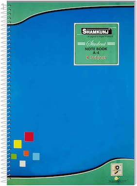 SHAMKUNJ Student Note book A-4;400 Pages 6 Subjects (Blue)