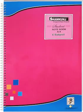 SHAMKUNJ Student Note book A-4;400 Pages 6 Subjects (Pink)