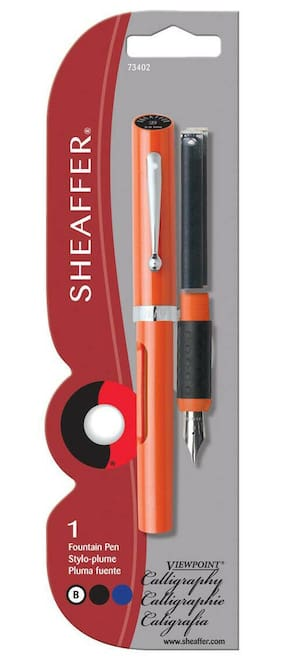 Sheaffer Viewpoint Calligraphy Pen Orange with 2 ink cartridges Broad Pt