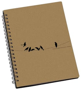 ShopMantra Birds On Wire Designer Spiral Notebook (Pack Of 2)