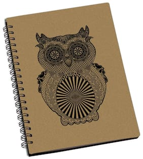 ShopMantra Owl Illustration Designer Spiral Notebook (Pack Of 2)