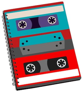 ShopMantra Vintage Cassette Vector Art Designer Spiral Notebook (Pack Of 2)