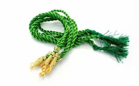 SIJCM Necklace Back Rope Colorful (Green) Almost Match with Any Jewellery- Dori for Silk Thread Jewellery/Terracotta Jewellery/Quilling-Pack of 12Pcs