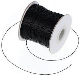SIJCM Sparkle Jewellery Making 0.5 MM Black Cotton Wax Cord 100 Mtr