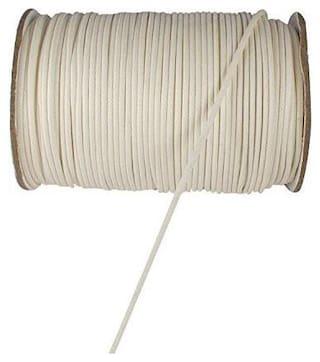 SIJCM Sparkle Jewellery Making 0.5 MM White Cotton Wax Cord 100Mtr