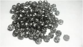 SIJCM Sparkle Bead;Acrylic;antiqued silver-finished 10mm round rose with 1.5mm hole.