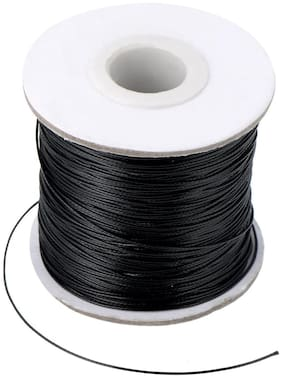 SIJCM Sparkle Jewellery Making 100 mtr Black cotton wax cord of .5 MM