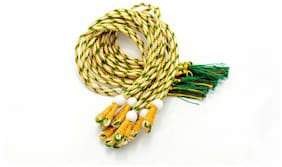 SIJCM Sparkle Necklace Back Rope Colorful (Yellow;Green) Almost Match with Any Jewellery- Dori for Silk Thread Jewellery/Terracotta Jewellery/Quilling-Pack of 12Pcs