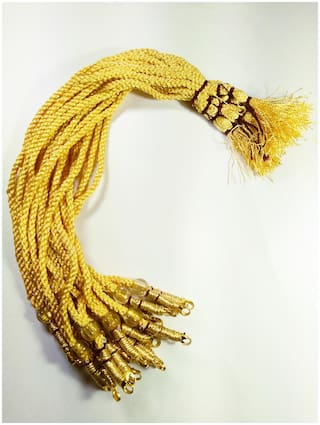 SIJCM Sparkle Yellow Colour Designer Necklace Back Rope- Dori for Silk Thread Jewellery/Terracotta Jewellery/Quilling-Pack of 12 pcs