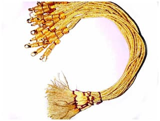 SIJCM Sparkle Necklace Back Rope Colorful(Golden) Almost Match with Any Jewellery- Dori for Silk Thread Jewellery/Terracotta Jewellery/Quilling-Pack of 12Pcs
