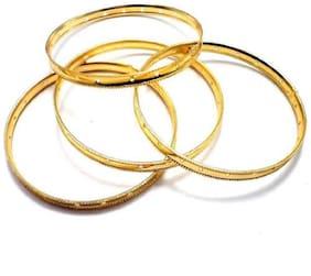 SIJCM Sparkle 4Pc Set Bangles Base for beading in Gold Polish in Size 2X4