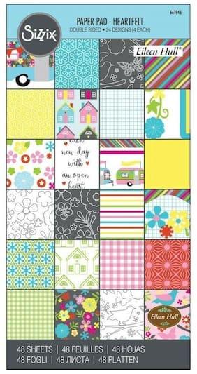 "Sizzix Paper - 661946 Heartfelt Cardstock Pad 6"" x 12"" (48 Sheets) Eileen Hull"