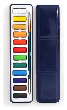 Solid Water Color Paint Set with Water Paint Brush Watercolor Pigment Iron Box