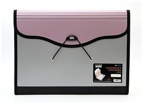 Solo EF- 884 Conference Expanding File - 6 Pockets (With Pen and Pad) - Pink