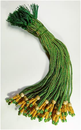 Sparkle Green Colour Designer Necklace Back Rope- Dori for Silk Thread Jewellery/Terracotta Jewellery/Quilling-Pack of 12 pcs