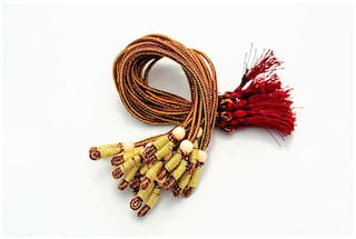 Sparkle Necklace Back Rope Colorful (Maroon) dori for Silk Thread Jewellery Making;Pack of 12Pcs.