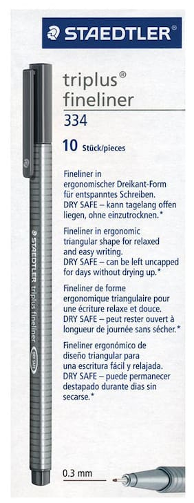 Staedtler 334-8 Triplus Fineliner Tip Pen Grey (Pack Of 10)