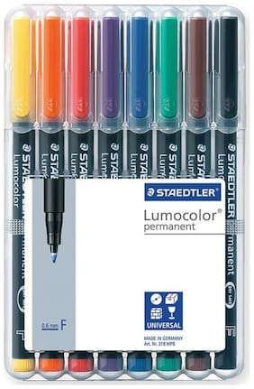 Staedtler Lumocolor 318 Fine 0.6Mm Line Permanent Pen (Pack Of 8)