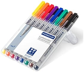 Staedtler Lumocolor 316WP8 Fine 0.6 MM Line Non-Permanent Pen - Assorted Colours (Pack Of 8)